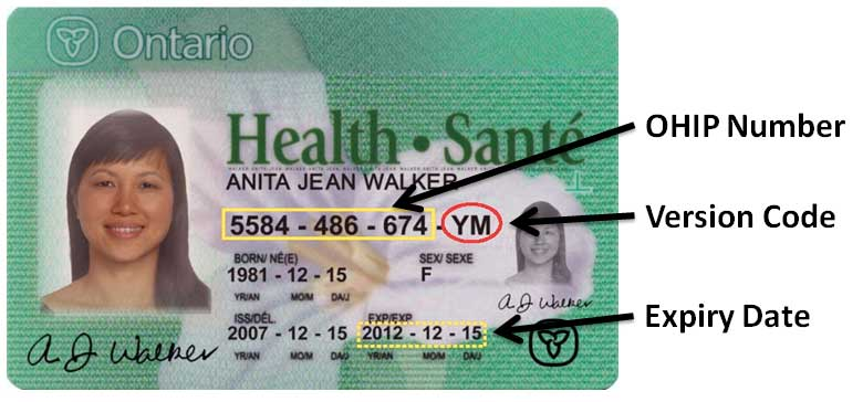 Image of OHIP card with labels showing the number part and version code part